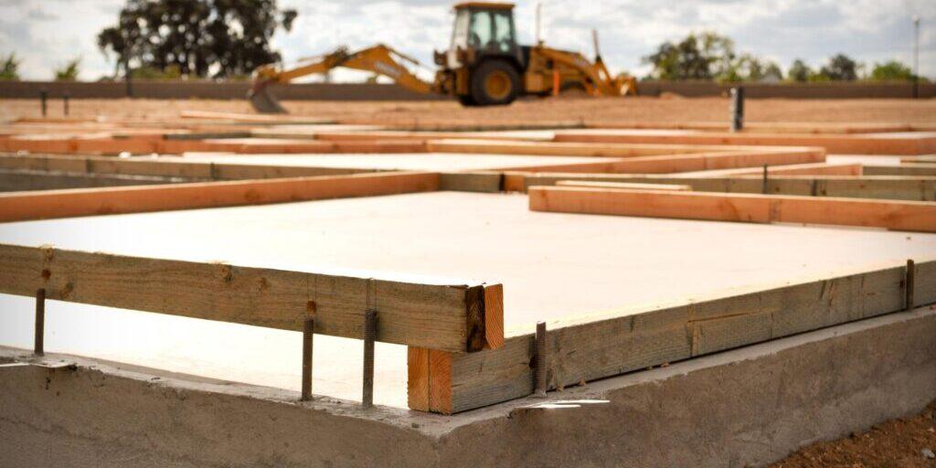 a house foundation under construction